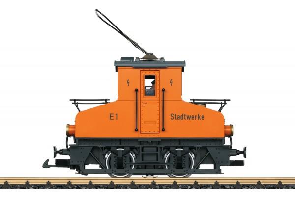 Kleine E-Lok Stadtwerke, orange